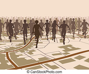 Town run - Editable vector illustration of a crowd of people...