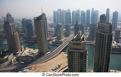 Town scape at summer. Dubai Marina.
