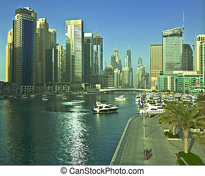 Town scape at summer. Dubai Marina.