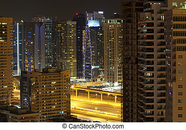 Town scape in the night. Dubai
