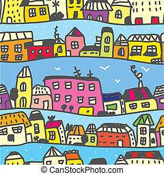 Town seamless pattern funny cartoon