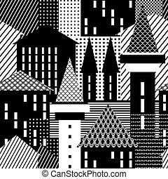 Town. Seamless pattern. Vector art.
