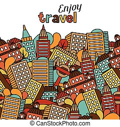 Town seamless pattern with hand drawn houses.