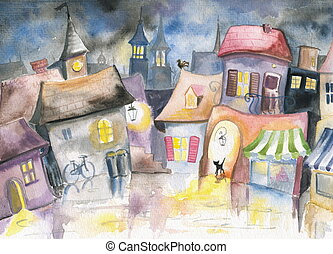 Small town at night. Picture created with watercolors.