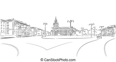 Town Square and historic building contour sketch