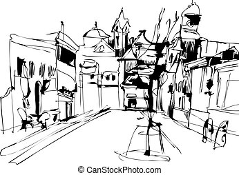 Town Square - a Chorna and white sketch Town Square