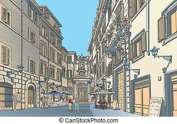 Highly detailed vector sketch of an European town square. Baroque architecture and lively cafe bars.