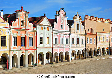 Town square in Telc with renaissance and baroque colorful...