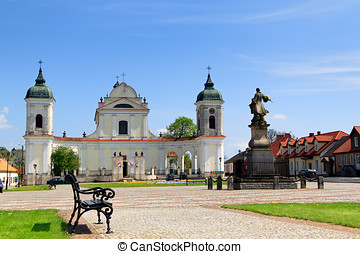 Town square in Tykocin, in Poland, Church of the Holy...