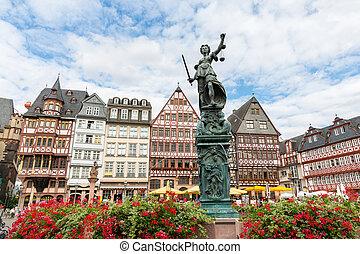 Town square romerberg Frankfurt Germany - old town square...