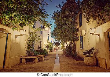 town - Night street in the town of Budva. Montenegro,...