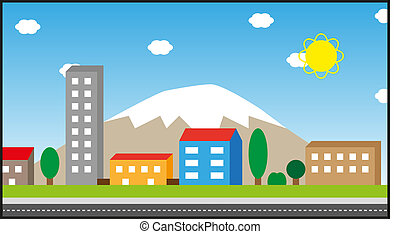 Town sunny day landscape