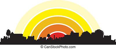 town sunrise