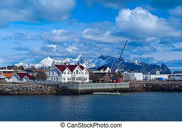 Town Svolvaer on Lofoten islands in sunny day