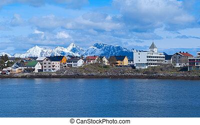 Town Svolvaer on Lofoten islands in sunny summer day