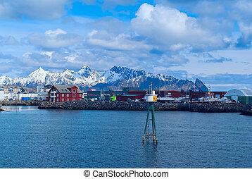 Town Svolvaer on norwegian Lofoten islands in sunny day