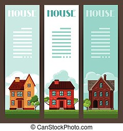Town vertical banners design with cottages and houses.