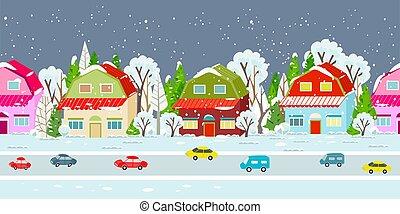 town winter border seamless