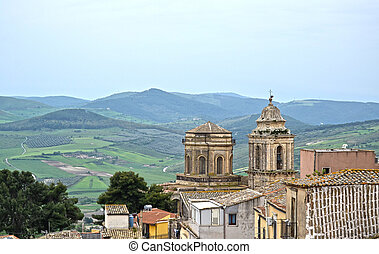 Sicily - Town with hills and wind turbines - Sicily