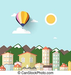 Town with Mountains on Background. Vector Flat Design Illustration.
