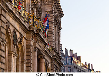 Townhall in lyon with french flag
