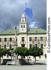 Townhall of Bad Reichenhall in Germany with fountain