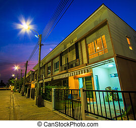 townhome, -, 黄昏, townhouse