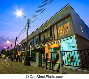 townhome, -, crepúsculo, residenciaurbana