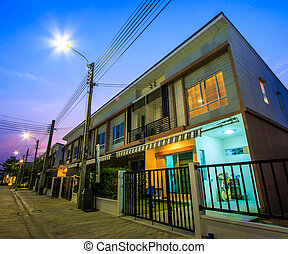 townhome, -, crepúsculo, townhouse