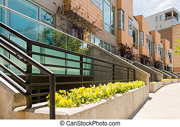 Townhomes - Row of contemporary townhomes at Riverside...
