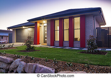 Townhouse at dusk - New australian townhouse front at dusk