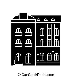 Townhouse black icon concept. Townhouse  vector sign, symbol, illustration.