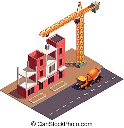 Townhouse Construction Isometric Composition