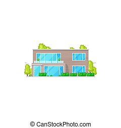 Patio facade exterior isolated chalet building, two-storied house realistic icon. Vector country villa facade, panoramic windows and green trees. Chalet country contemporary building townhouse