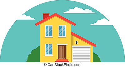Townhouse, Flat House - Vector simple house for your...
