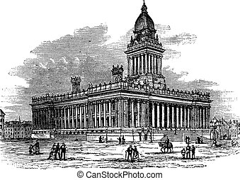 Townhouse, Leeds, England vintage engraving