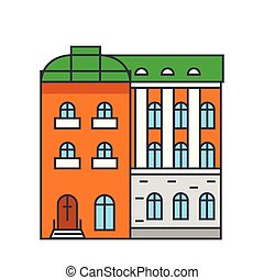 Townhouse line icon concept. Townhouse flat vector sign, symbol, illustration.