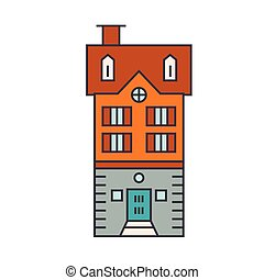 Townhouse village line icon concept. Townhouse village flat vector sign, symbol, illustration.