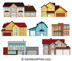 Townhouses collection - vector illustration of city ...