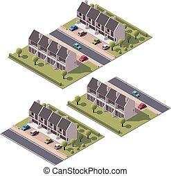 townhouses, isometric, vector, set