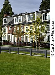 Townhouses - Modern townhouses in a suburban setting.