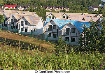 townhouses under construction in rural areas