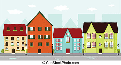 Townhouses - Urban scene with townhouses and cityscape in...