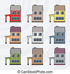 Townhouses vector icon set.