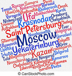 Towns in Russia word cloud concept