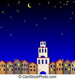 Townscape made from old paper at night. Creative vector eps...