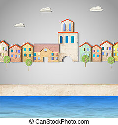 Townscape made from old paper. Creative vector eps10