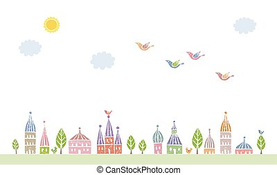 Townscape of pointed roofed cute houses and trees, birds...