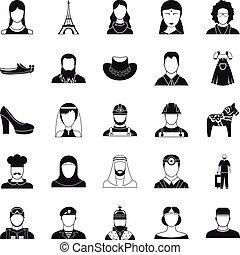 Townsman icons set, simple style
