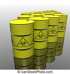toxic barrel with biohazard symbol